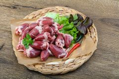 Raw chicken hearts. On the plate ready for cooking Royalty Free Stock Image