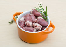 Raw chicken hearts. With thyme and rosemary - ready for cooking Stock Photos