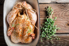 Raw chicken with herbs in casserole dish. On old wooden table Royalty Free Stock Image