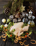 Raw chicken with herbs spices ingredients, ready for Christmas. On a wooden table, selective focus Royalty Free Stock Images