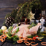 Raw chicken with herbs spices ingredients, ready for Christmas. On a wooden table, selective focus Stock Photo