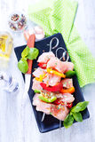 Raw chicken kebab Royalty Free Stock Images