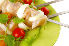 Raw chicken kebabs Royalty Free Stock Photo