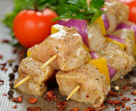 Raw chicken kebabs Royalty Free Stock Image