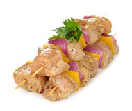 Raw chicken kebabs Royalty Free Stock Photos