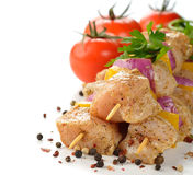 Raw chicken kebabs Stock Photo