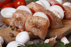 Raw chicken kebabs on wooden skewers horizontal Royalty Free Stock Photography