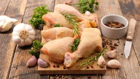 Raw chicken leg. Close up on raw chicken leg Royalty Free Stock Image