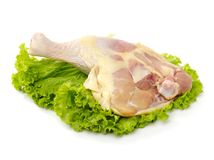 Raw chicken leg. Isolated on white background Royalty Free Stock Images