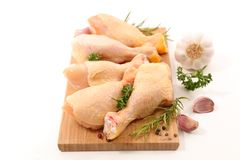 Raw chicken leg. On white background Royalty Free Stock Photo