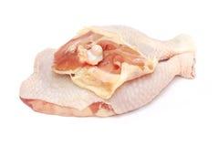Raw chicken leg. On white background Royalty Free Stock Photos