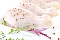 Raw chicken legs. Raw chicken legs close up on white plate decorated with fresh herbs Stock Photography