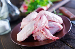 Raw chicken legs. On the brown plate Royalty Free Stock Photography