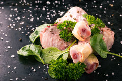Raw chicken legs with green spinach and spice. Horizontal photo of chicken legs. Few pieces of raw meat with bones. Green parsley and spinach leaves on black stock images