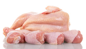 Raw chicken legs isolated on white. Royalty Free Stock Image