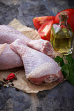Raw chicken legs with parsley. Selective focus royalty free stock image