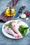 Raw chicken legs. On plate and on a table Royalty Free Stock Photo