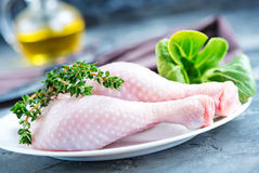 Raw chicken legs. On plate and on a table Royalty Free Stock Photography