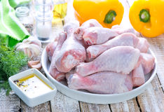 Raw chicken legs. With salt and spice Royalty Free Stock Image