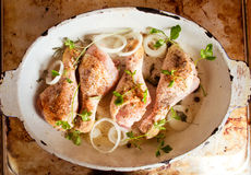 Raw chicken legs with spices Stock Photo