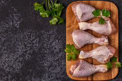 Raw chicken legs, top view. Stock Photos