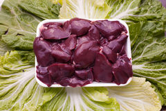 Raw chicken liver. Isolated in studio shot Royalty Free Stock Photos