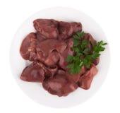 Raw chicken liver. Fresh raw chicken liver on white Stock Image