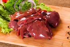 Raw chicken liver. For cooking Royalty Free Stock Photo