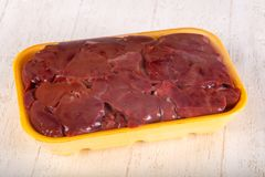 Raw chicken liver. For cooking Royalty Free Stock Image