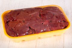 Raw chicken liver. For cooking Stock Photos