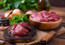Raw chicken liver. For cooking with onions and peppers Stock Photo