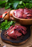 Raw chicken liver. For cooking with onions and peppers Royalty Free Stock Images