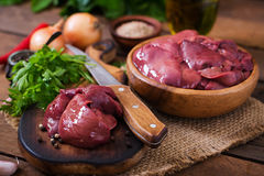 Raw chicken liver. For cooking with onions and peppers Royalty Free Stock Photos