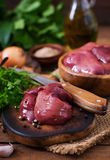 Raw chicken liver. For cooking with onions and peppers Royalty Free Stock Photography