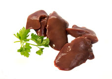 Raw chicken liver. On cutting board Stock Photo