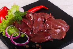 Raw chicken liver. For cooking Stock Photo