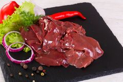 Raw chicken liver. For cooking Stock Photography