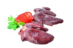 Raw chicken liver on white background. Fresh raw chicken liver isolated on white background Royalty Free Stock Image