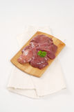 Raw chicken liver. On wooden cutting board Royalty Free Stock Photography