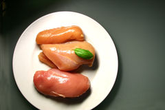 Raw chicken meat. Fresh raw meat on white plate stock photo