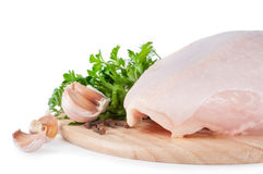Raw chicken meat. Raw chicken breast with green parsley and garlic Stock Photography
