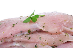 Raw chicken meat marinated with parsley and olive oil Stock Images
