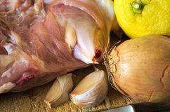 Raw chicken meat. With onions, garlic and lemon Stock Image