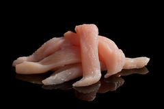 Raw chicken meat slices. Royalty Free Stock Image