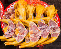 Raw chicken meat sold in the market Stock Image