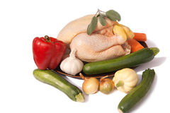 Raw chicken & mixed vegetables Royalty Free Stock Images