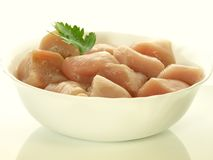 Raw chicken pieces,. Raw chicken pieces in bowl on  background Royalty Free Stock Photo