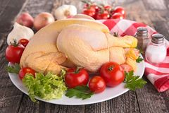 Raw chicken. On plate with vegetables Royalty Free Stock Images