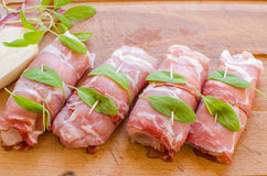 Raw chicken saltimbocca Royalty Free Stock Photo