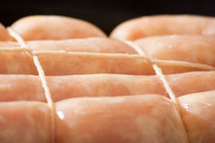 Raw chicken sausage royalty free stock images